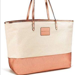 Victoria's Secret Rose Gold Canvas Tote Bag